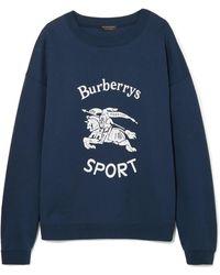 Burberry - Flocked Cotton-blend Jersey Sweatshirt - Lyst