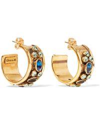 Etro - Gold-tone Crystal Hoop Earrings - Lyst