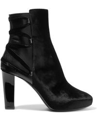 Lanvin - Lace-up Leather-trimmed Velvet Ankle Boots - Lyst