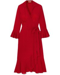 Michael Kors - Ruffled Polka-dot Silk-georgette Wrap Dress - Lyst