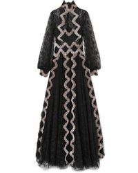 Costarellos - Embroidered Velvet-trimmed Lace Gown - Lyst