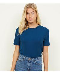 New Look - Teal Rib Boxy T-shirt - Lyst