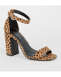 1df5418262f9 New Look Wide Fit Brown Leopard Print Suedette Heeled Sandals in ...