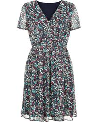 Pussycat - Navy Floral Print Wrap Front Dress - Lyst