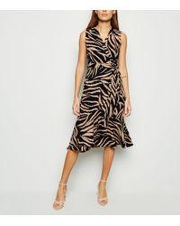Mela Navy Tiger Print Wrap Front Midi Dress - Blue