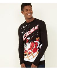 New Look - Black Sledgendary Slogan Christmas Jumper - Lyst