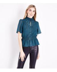 New Look - Teal Metallic Stripe Chiffon Shirred Waist Blouse - Lyst