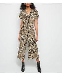 47c67e83354 AX Paris Brown Leopard Print Culotte Jumpsuit in Brown - Lyst