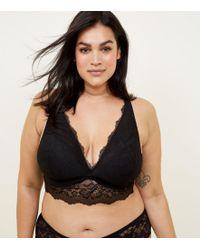 c825bfa562 New Look Curves Black Velvet And Lace Bralette in Black - Lyst