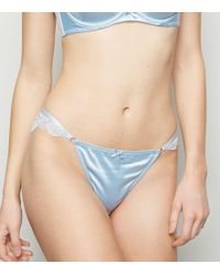 ade548c167 New Look - Pale Blue Satin Lace Trim Brazilian Briefs - Lyst