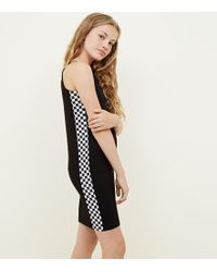 New Look - Girls Black Checkerboard Side Bodycon Dress - Lyst