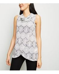 Apricot - Grey Lace Print Cowl Neck Wrap Top - Lyst