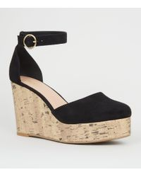 53058b80877 New Look Black Suedette Ghillie Lace Up Wedges in Black - Lyst