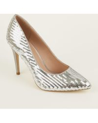 abef5d31cc3 New Look - Silver Sequin Pointed Stiletto Court Shoes - Lyst