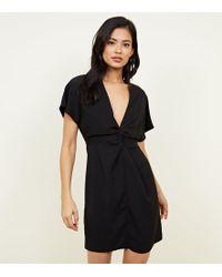 New Look - Black Plunge Twist Front Mini Dress - Lyst
