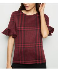 New Look - Red Check Bell Sleeve T-shirt - Lyst