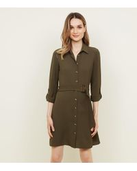 New Look - Khaki Crepe Belted Shirt Dress - Lyst