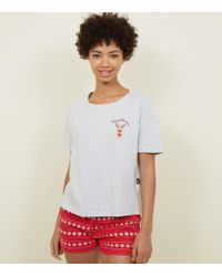 New Look - Red Reindeer Slogan Pyjama Gift Set - Lyst