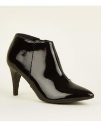 New Look - Black Patent Crinkle Cone Heel Shoe Boots - Lyst