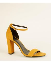 765683c87d36 New Look - Wide Fit Mustard Suedette Ankle Strap Block Heels - Lyst