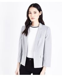 New Look - Grey Cropped Jersey Blazer - Lyst