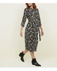 400d751408a2 New Look Maternity Black Animal Print Shirt Dress in Black - Lyst