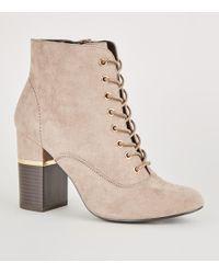 c8f8f435afa9a New Look - Light Brown Lace-up Gold Trim Block Heel Boots - Lyst