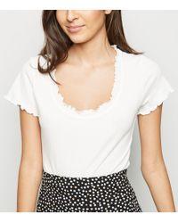7fcf4c4eec New Look Cream Layered Frill Trim Bardot Neck Bodysuit in Natural - Lyst