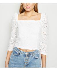 New Look - White Milkmaid Broderie Sleeve Top - Lyst