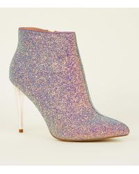 New Look - Purple Glitter Metal Heel Ankle Boots - Lyst
