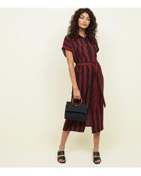 New Look - Red And Black Striped Shirt Midi Dress - Lyst