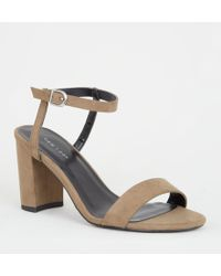 6885d7930a9 New Look Khaki Suedette Buckle Side Strappy Block Heels - Lyst