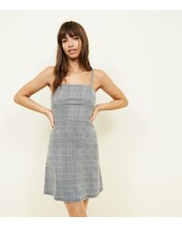 New Look - Grey Prince Of Wales Check Strappy Dress - Lyst