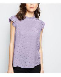 New Look - Lilac Jacquard Spot Sleeveless Top - Lyst