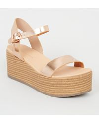 51d4f260c7a New Look Rose Gold Metallic Two Part Espadrille Wedges in Metallic ...