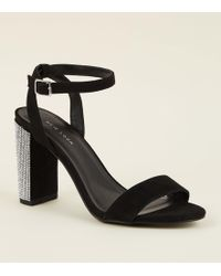 24509a03570c New Look Wide Fit Black Suedette Double Strap Block Heels in Black ...
