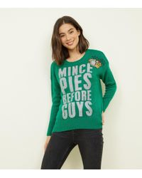 95bb43b51ae62 New Look - Green Mince Pies Before Guys Glitter Christmas Jumper - Lyst