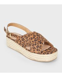 31492b15255ec4 River Island · New Look - Stone Leopard Print Cross Strap Flatform Sandals  - Lyst