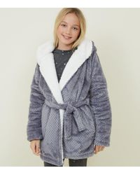 New Look - Girls Pale Grey Waffle Borg Lined Dressing Gown - Lyst