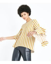 New Look - Mustard Yellow Stripe Bell Sleeve Top - Lyst