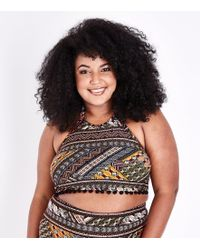 New Look - Curves Black Neon Aztec Pattern Pom Pom High Neck Bikini Top - Lyst