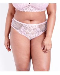 New Look - Curves Pink Lace And Fishnet Brazilian Briefs - Lyst