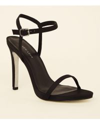 e9a4f059124 New Look - Black Satin Silver Holographic Sole Stiletto Heels - Lyst
