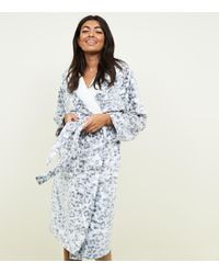 fe7f3d5b2f New Look - Grey Leopard Burnout Print Fluffy Dressing Gown - Lyst
