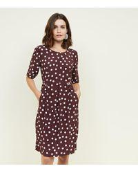Apricot - Brown Spot Print Tulip Dress - Lyst