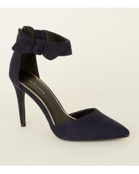 New Look - Navy Suedette Bow Ankle Strap Stilettos - Lyst