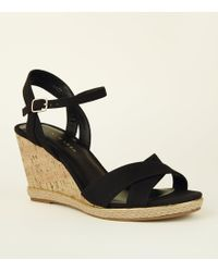 c88b6743d1a New Look - Wide Fit Black Suedette Cross Strap Cork Wedges - Lyst