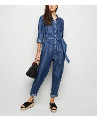 New Look - Blue Lightweight Boiler Jumpsuit - Lyst