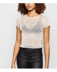 7a6930a43df5b7 New Look - Pale Pink Glitter Mesh Frill Trim T-shirt - Lyst
