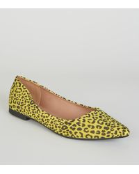 e3c7e193c5e New Look - Yellow Neon Leopard Print Pointed Ballet Court Shoes - Lyst